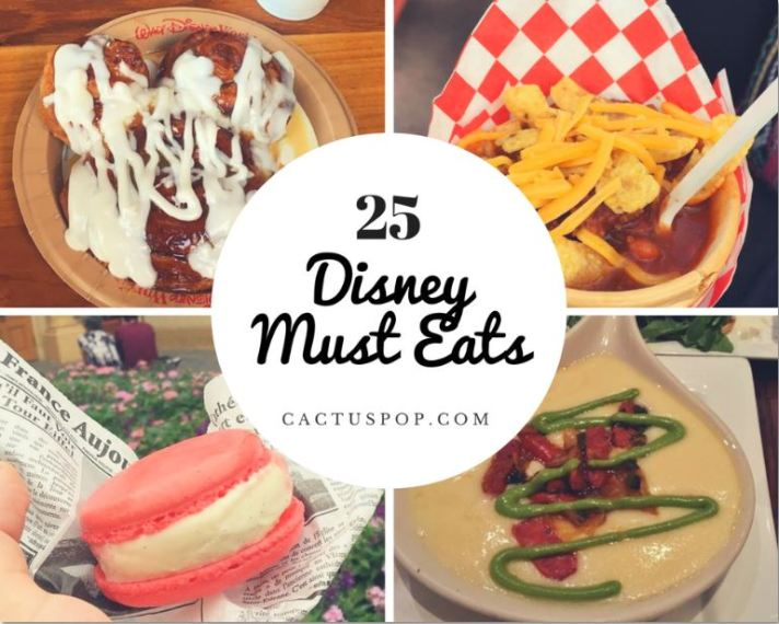 Disney Must Eats Disneyland Disney World Cinnamon Roll Chili Cone Queso Macaron Queso Fundido