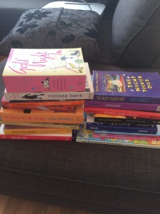 Some of my donate pile. Some of which may have snuck back on the shelf. Oops. But not many - I promise!