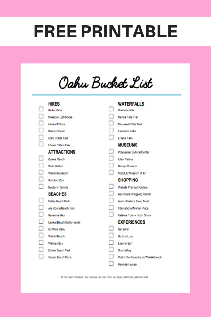 FREE Oahu Travel Bucket List Printable